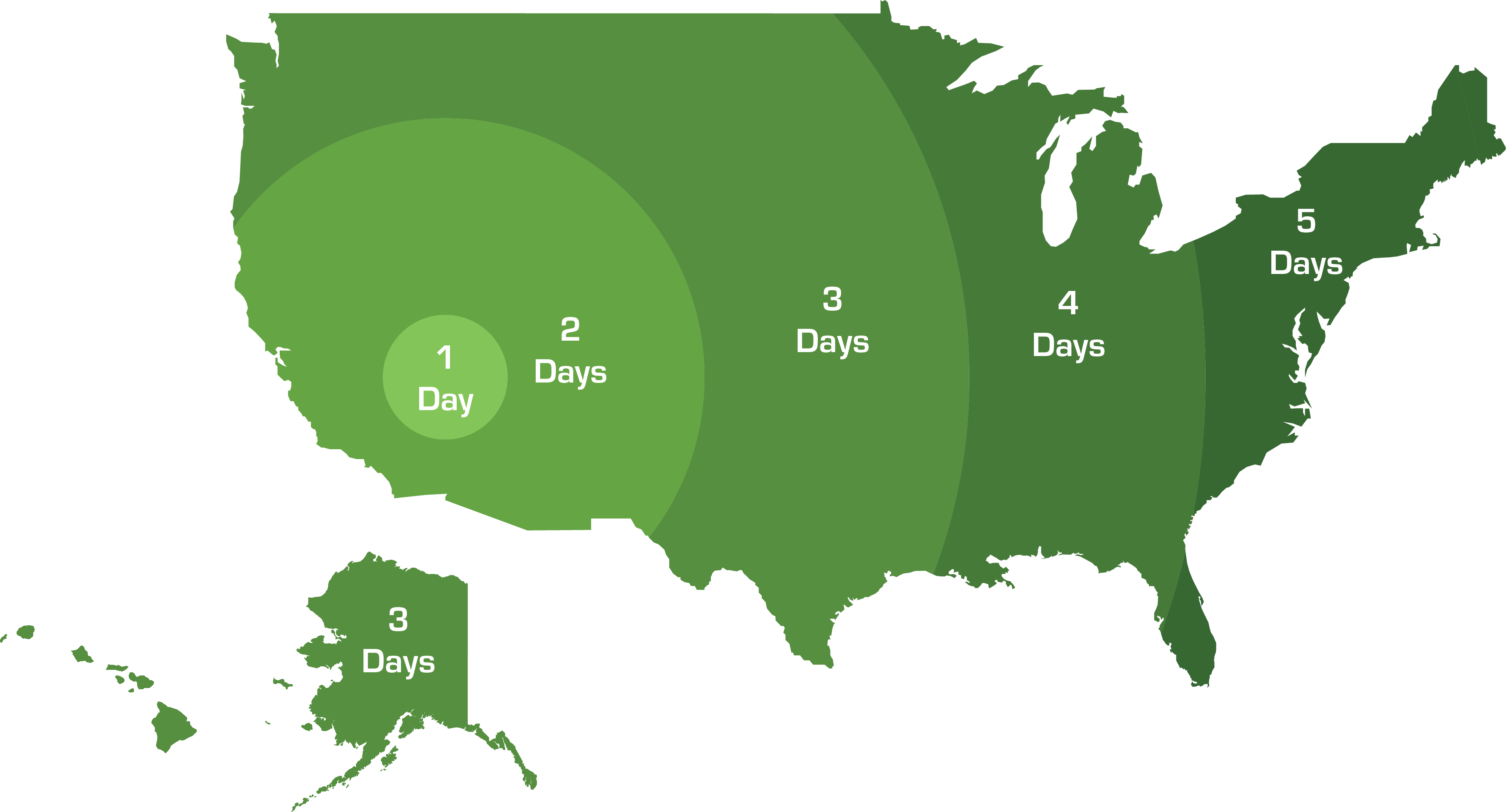 Shipping map showing 1-2 day shipping on the west coast and 3-5 day shipping to the east coast