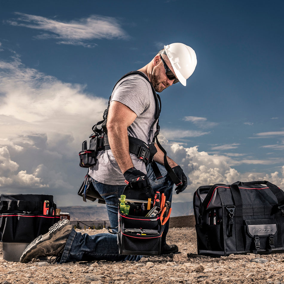Shop work gear, rigs, tool belts, bags, work gloves,  pouches, and more