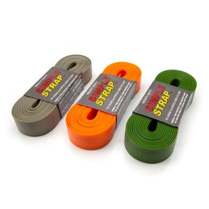 Self-Gripping 3mm Heavy-Duty Rubber Tie Down Straps, Forest Green, Grey, and Orange 3-Pack