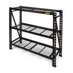 Thumbnail - 48 in H x 50 in W x 18 in D 3 Shelf Wire Deck Black Industrial Storage Rack - 01