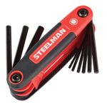 Thumbnail - 3 Piece Folding Hex Key Set Includes 9 Standard SAE Inch 8 Metric MM and 8 Torx T Sizes - 51