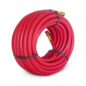 50-Foot Long 3/8-Inch ID Rubber Air Hose with Brass 3/8-Inch Male NPT Fittings