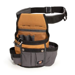 8-Pocket Utility Pouch with Padded Belt, Gray / Tan