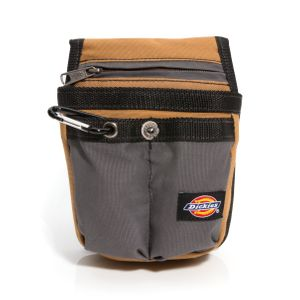 Tool Belt Tool Pouch with Zipper Pocket, Gray / Tan