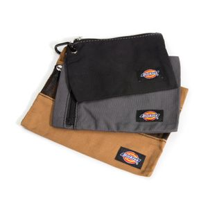3-Piece Accessory and Fastener Zipper Bag Set, Gray / Tan