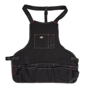16-Pocket Bib Apron with Quick Release Buckle, Black