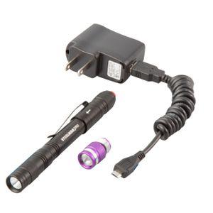 Rechargeable 70 Lumen Pen Light with UV Head Combo