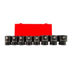 3 4 Inch Drive 6 Point Shallow SAE Impact Socket Set 8 Piece