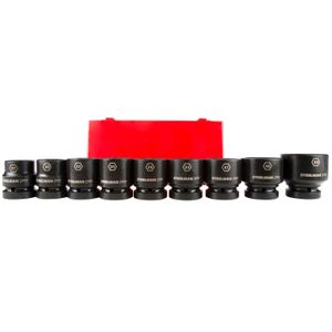 1 Inch Drive 6 Point Shallow Metric Impact Socket Set 9 Piece
