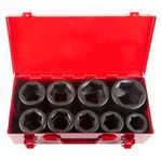 Thumbnail - 1 Inch Drive 6 Point Shallow Metric Impact Socket Set 9 Piece - 11