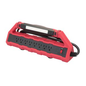 8-Outlet Power Station with 2-USB Outlets and Detachable Work Light, 15 Amp