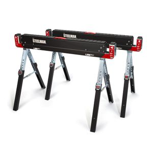 42-Inch Adjustable Height Metal Folding Sawhorse Set