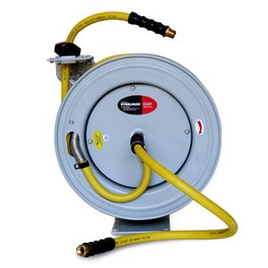 Enclosed Spring Garden Center Water and Pneumatic Hose Reel with 50 Foot 1 2 Inch ID Hose