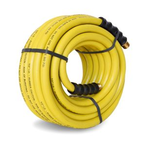 50-Foot Yellow Rubber 1/2-Inch ID Air and Water Hose with 1/2-Inch NPT Brass Fittings