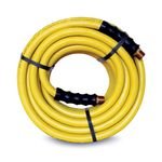 Thumbnail - 50 Foot Yellow Rubber 1 2 Inch ID Air and Water Hose with 1 2 Inch NPT Brass Fittings - 11