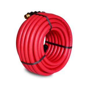 50-Foot Red Rubber 1/2-Inch ID Air Hose with 1/2-Inch NPT Brass Fittings