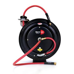 Enclosed Spring Pneumatic Hose Reel with 35 Foot 3 8 Inch ID Rubber Air Hose