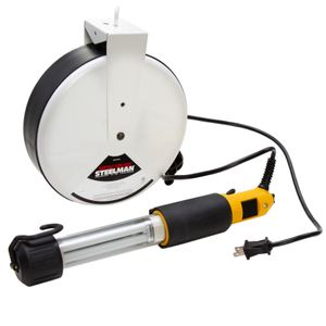 Compact Fluorescent Work Light with Retractable 40-Foot Cord and Reel