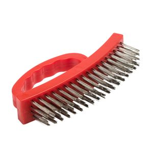 Stainless Bristle Wire Brush with Plastic Handle, 2 pack