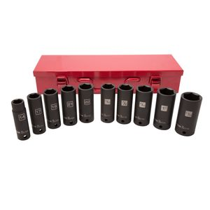 1 2 Inch Drive Thin Wall Deep SAE Metric Impact Socket Set with Metal Case 10 Piece
