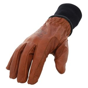 Fleece Lined A3 Cut Resistant Buffalo Leather Driver Winter Work Glove with Rib Knit Cuff