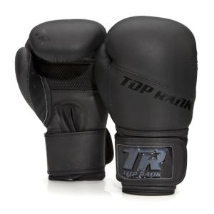 Champion Grade-A Leather Training Boxing Glove, Black with Black Trim