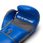 Thumbnail - Champion Grade A Leather Training Boxing Glove in Gray and Blue - 41