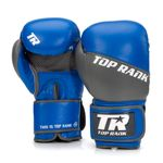Thumbnail - Champion Grade A Leather Training Boxing Glove in Gray and Blue - 01