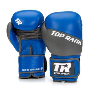 Champion Grade A Leather Training Boxing Glove in Gray and Blue