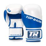 Thumbnail - Champion Grade A Leather Training Boxing Glove in White and Blue - 01