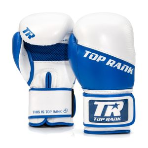 Champion Grade A Leather Training Boxing Glove in White and Blue