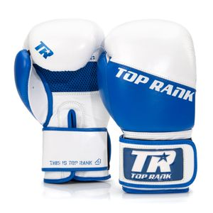 Champion Grade-A Leather Training Boxing Glove in White and Blue