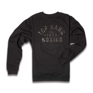 Top Rank Boxing Est 1966 Crew Neck Sweatshirt in Black on Black