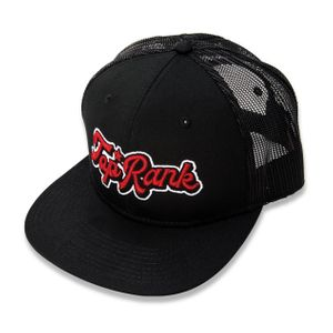 Top Rank Font Logo Cotton / Mesh Snapback Hat, Red and White on Black