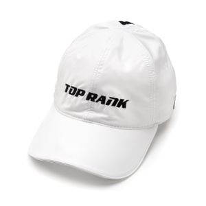 Womens Top Rank Logo Sport Hat with Magnetic Pony Tail Closure in White, Medium/Large