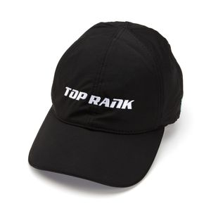 Womens Top Rank Logo Sport Hat with Magnetic Pony Tail Closure in Black Medium Large